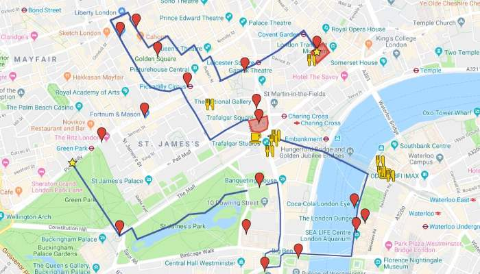 London in Six Days: Map Day 1